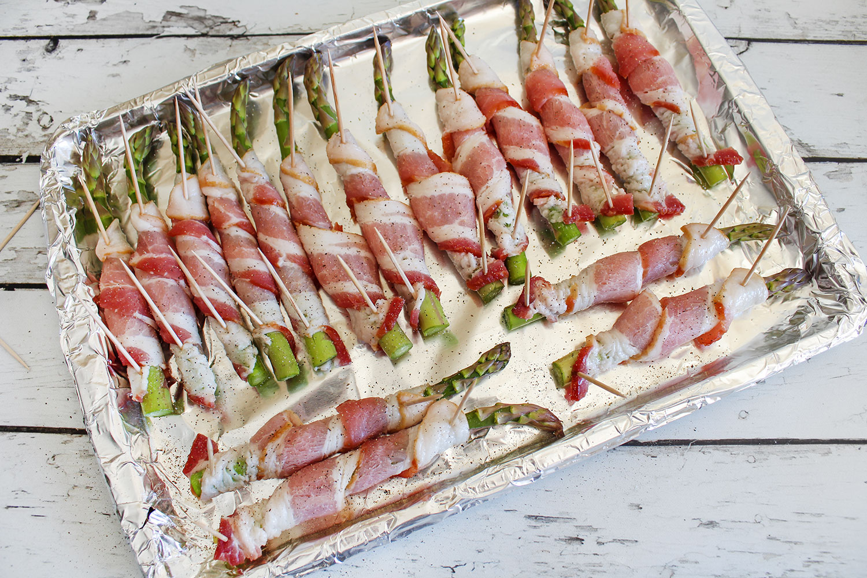 Crispy Air Fried Bacon Wrapped Asparagus