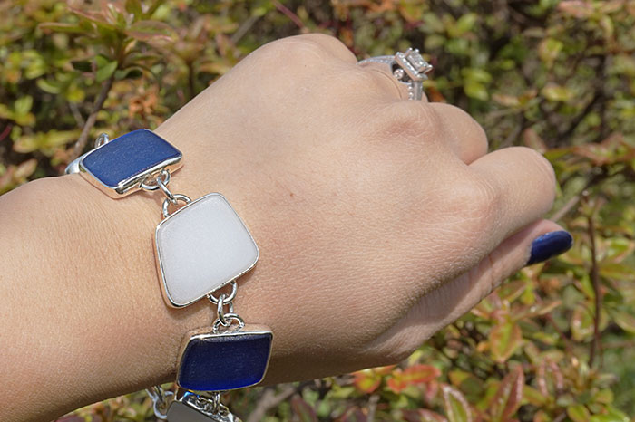 Blue & White Beach Glass Silver Bracelet