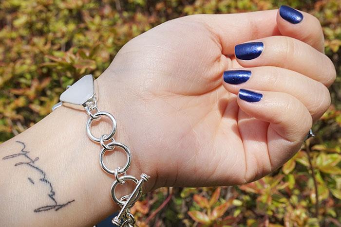 Blue & White Beach Glass Silver Bracelet
