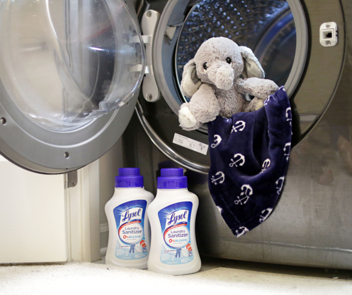 Making Mr. Moo Look New Again with Lysol® Laundry Sanitizer