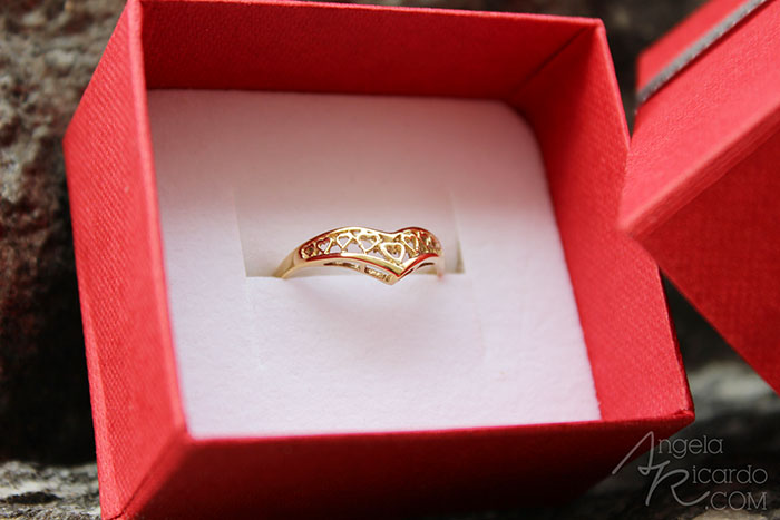 Jewellery World 9ct Gold Heart Wishbone Ring