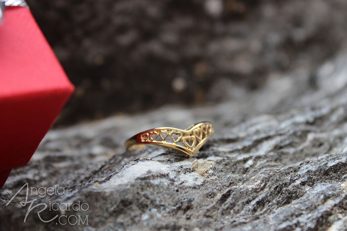 Gold Heart Wishbone Ring